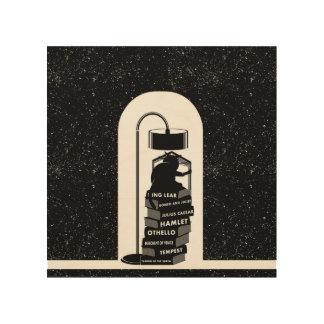 Quadro De Madeira Gato engraçado que lê jogos de Shakespeare