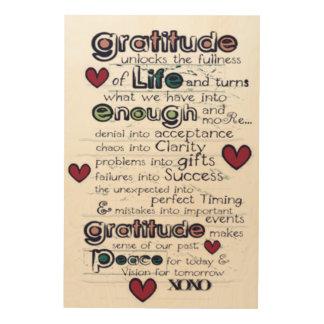 Quadro De Madeira Gratitude/sabedoria no design da vida/tipografia