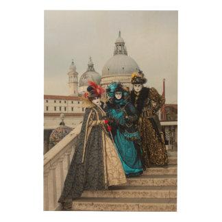 Quadro De Madeira Grupo na ponte no carnaval, Veneza