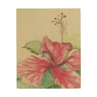 Quadro De Madeira Hibiscus II