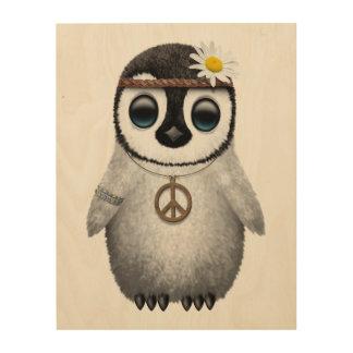 Quadro De Madeira Hippie bonito do pinguim do bebê