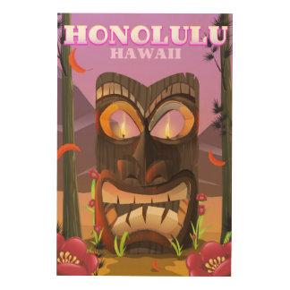 Quadro De Madeira Honolulu Havaí o poster de viagens da máscara