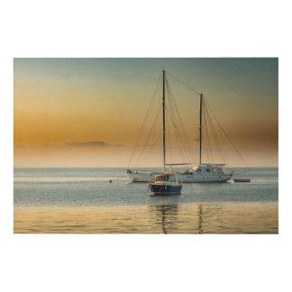 Quadro De Madeira Iate impressionante e barco no porto