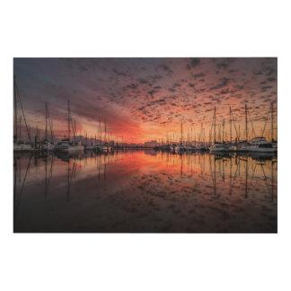 Quadro De Madeira Iate impressionantes no porto no nascer do sol