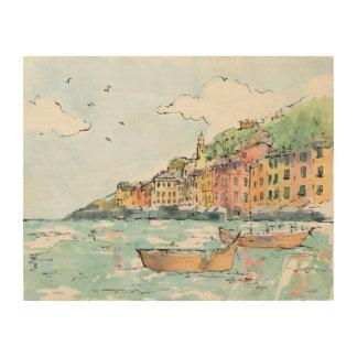 Quadro De Madeira Ilustração do porto de Porofino