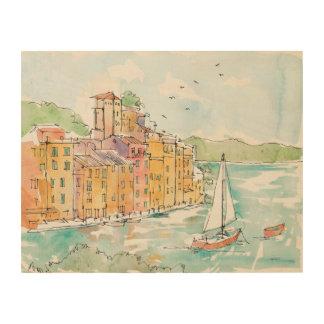 Quadro De Madeira Ilustração do porto de Porofino com veleiro