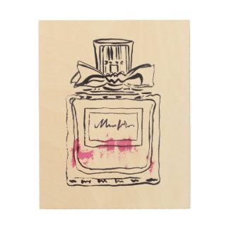 Quadro De Madeira Ilustração do watercolour da forma da garrafa de