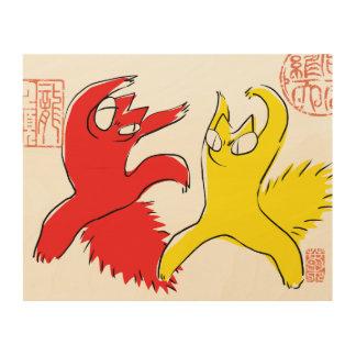 Quadro De Madeira Ilustração engraçada cómico do asiático do gato da