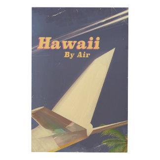 Quadro De Madeira Impressão das férias do vintage do vôo de Havaí