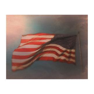 Quadro De Madeira Impressão de madeira Antiqued 14 x 11 da bandeira