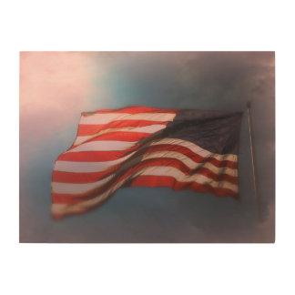 Quadro De Madeira Impressão de madeira Antiqued 24 x 18 da bandeira