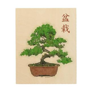 Quadro De Madeira Impressão de madeira: Árvore japonesa dos bonsais
