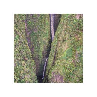 Quadro De Madeira Impressão de madeira da cachoeira havaiana