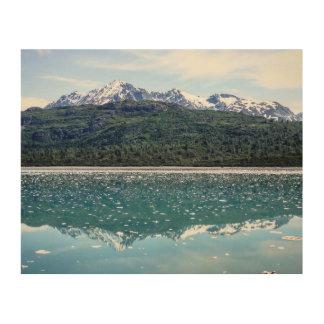 Quadro De Madeira Impressão de madeira das reflexões da montanha