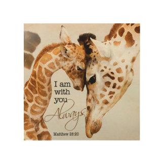 Quadro De Madeira Impressão de madeira do girafa