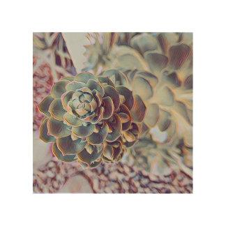 Quadro De Madeira Impressão de madeira do Succulent