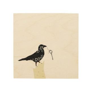 Quadro De Madeira Impressão do corvo na madeira
