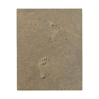 Quadro De Madeira Impressões do pé na areia