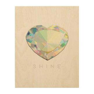 Quadro De Madeira Inspiração do coração do diamante
