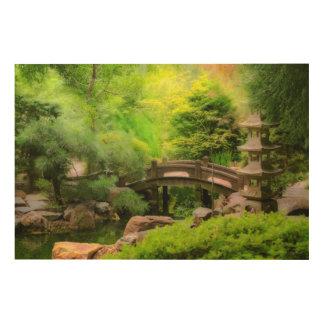 Quadro De Madeira Jardim japonês - água sob a ponte