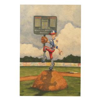 Quadro De Madeira Jarro do basebol no monte por Jay Throckmorton