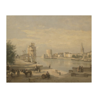 Quadro De Madeira Jean-Baptiste-Camilo Corot - o porto