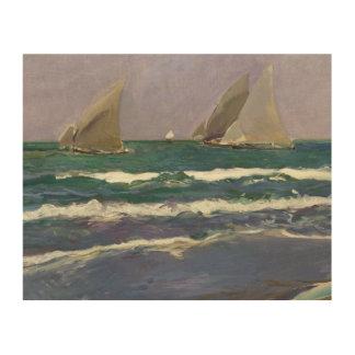 Quadro De Madeira Joaquin Sorolla - velas do navio no mar