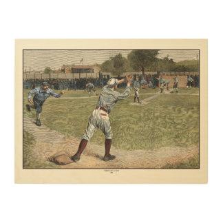 Quadro De Madeira Jogador de beisebol jogado para fora na segunda