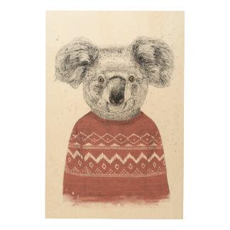Quadro De Madeira Koala do inverno (vermelho)