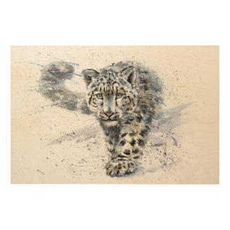 Quadro De Madeira Leopardo de neve