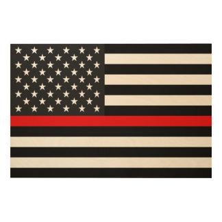 Quadro De Madeira Linha vermelha fina bandeira americana