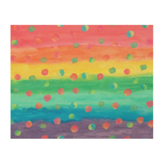 Quadro De Madeira Listras e pontos coloridos da aguarela