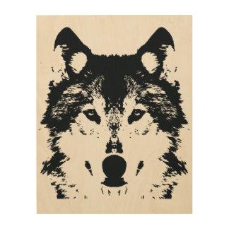 Quadro De Madeira Lobo preto da ilustração