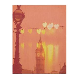 Quadro De Madeira Londres | Big Ben Nightime filtrado fotografia