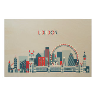 Quadro De Madeira Londres, Inglaterra skyline vermelha, branca e