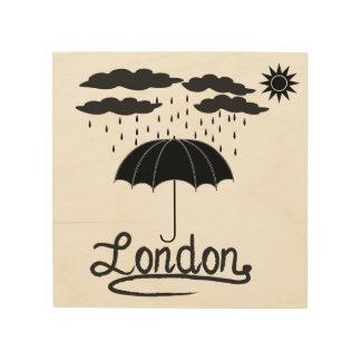 Quadro De Madeira Londres | sob um guarda-chuva