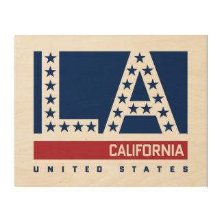 Quadro De Madeira Los Angeles, Califórnia skyline vermelha, branca &