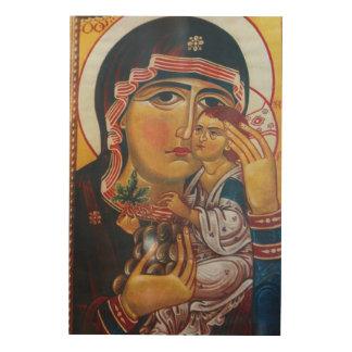 Quadro De Madeira Mãe Mary e arte de Jesus