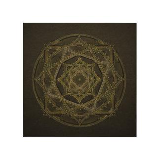 Quadro De Madeira Mandala verde e preta do fractal