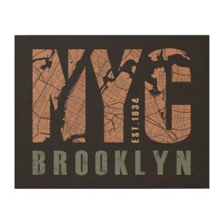 Quadro De Madeira Mapa da cidade de Brooklyn, New York |