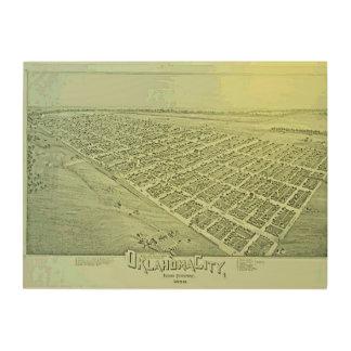Quadro De Madeira Mapa pictórico do vintage do Oklahoma City em 1890