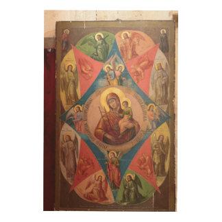 Quadro De Madeira Mary, Jesus, e anjos
