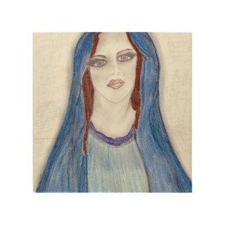 Quadro De Madeira Mary no azul
