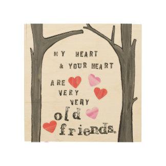 Quadro De Madeira '' Meu coração e seu coração… ''