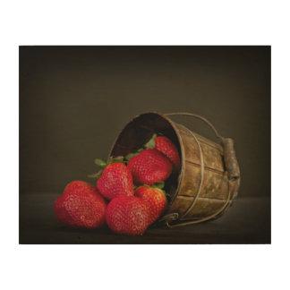 Quadro De Madeira Morangos vermelhas doces
