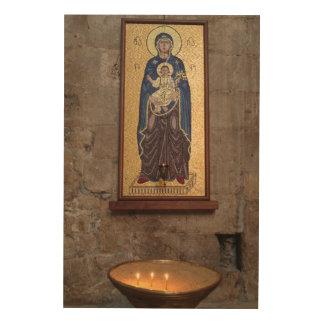 Quadro De Madeira Mosaico de Mary e de Jesus