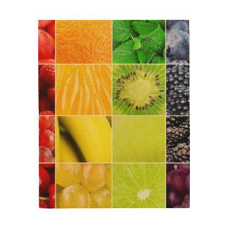 Quadro De Madeira Multi colagem colorida da fruta