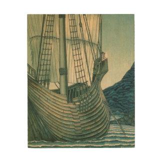 Quadro De Madeira Navio de navigação do Santo Graal no oceano