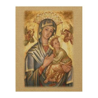 Quadro De Madeira Nossa senhora do ícone perpétuo da ajuda
