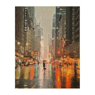 Quadro De Madeira Nova Iorque chuvosa